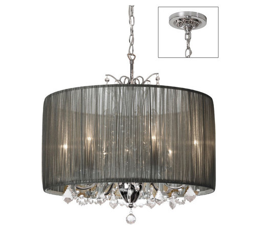 None - Tiara Silver Organza and Polished Chrome 5-light Crystal Chandelier - The Victoria chandelier features the classic curved lines of traditional chandeliers in polished chrome that's strung with dazzling optical crystals. A pleated shade completes the sumptuous effect.