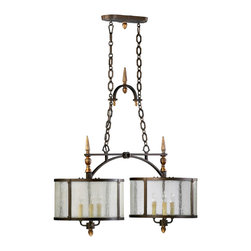 Kathy Kuo Home - San Giorgio Spanish Revival 6 Light Bronze Island Pendant - A bold fusion of traditional iron metalwork and rustic style, this island light creates a statement wherever it is placed.  Gothic revival, or even industrial style fans will enjoy it's unique character.