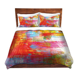DiaNoche Designs - Duvet Cover Microfiber by Julia Di Sano - Doodle Strokes - DiaNoche Designs works with artists from around the world to bring unique, artistic products to decorate all aspects of your home.  Super lightweight and extremely soft Premium Microfiber Duvet Cover (only) in sizes Twin, Queen, King.  Shams NOT included.  This duvet is designed to wash upon arrival for maximum softness.   Each duvet starts by looming the fabric and cutting to the size ordered.  The Image is printed and your Duvet Cover is meticulously sewn together with ties in each corner and a hidden zip closure.  All in the USA!!  Poly microfiber top and underside.  Dye Sublimation printing permanently adheres the ink to the material for long life and durability.  Machine Washable cold with light detergent and dry on low.  Product may vary slightly from image.  Shams not included.