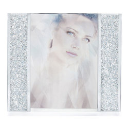 "Swarovski - Swarovski Starlet Picture Frame - Swarovski Starlet Picture Frame  -  Size: 5 15/16"" x 5  -  Fine Silver Crystal  -  Made In Austria  -  Clear crystal filled columns decorate two sides of the frame; silver-tone metal structure."