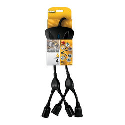 Prime Wire - Prime Wire 6-Outlet 14/3 SJT Black Power Spyder with 4-ft Cord - 6-Outlet 14/3 SJT Black Power Spyder�� w/ 4ft Cord