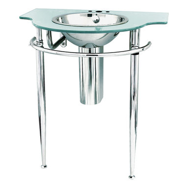 Decolav - Decolav Wall-Mounted Top & Stain - Decolav 2180T-8P-MS Wall-Mounted Tempered Metallic Silver Glass Top
