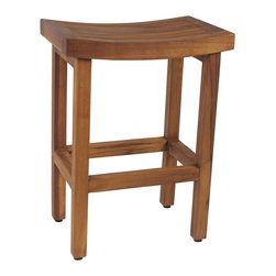 "Aqua Teak - OptiArea Teak Counter Stool - From the Sumba Collection - This beautiful OptiArea™�� space saving teak counter stool was designed for convenience and versatility, with a compact yet elegant design. The polished look of the teak bistro stool will add a quality touch to any area you place it. The teak stool is naturally water resistant and suitable for use in any location, either indoors or outdoors. Handcrafted using only sustainably harvested wood, the teak counter height stool features adjustable rubber padded feet for safety and stability. We are so confident that you will love this teak bar stool that we offer a 30 day satisfaction guarantee and 5 year warranty on all of our products! (Some assembly required) Dimensions: 18""w x 24""h x 12""d"