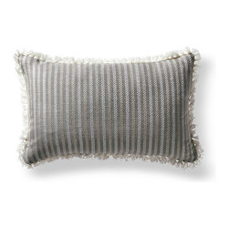 Frontgate - Fairway Stripe Gray Outdoor Lumbar Pillow - 100% Sunbrella® solution-dyed acrylic fabric. Finished in Ivory eyelash fringe. Resists fading, mold and mildew. High-density polyester fill. Spot clean with mild soap and water; air-dry only. Bursting with welcoming texture and pattern, the Sunbrella Fairway Stripe Slate Outdoor Lumbar Pillow will instantly enhance your outdoor setting. Embellished with intricate Ivory eyelash fringe and constructed of all-weather fabric, this exclusive pillow maintains its radiance through seasons of use. 100% Sunbrella solution-dyed acrylic fabric .  .  .  .  . Zipper closure . Made in the USA.