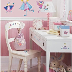 RoomMates - Fairy Princess Peel & Stick Appliques - RMK1015SCS - Shop for Wall Decorations from Hayneedle.com! Normally it's hard to put room decoration in the hands of a 4-year-old girl but with these unique and surface-safe wall stickers you've got nothing to worry about. Let your daughter take control of the look of her room and furniture. Undoubtedly she'll want to change it the very next day and that's just fine. With stickers so bright and full of whimsy you'll love seeing what she comes up with.These stickers will work on just about any surface but take care with wallpaper or some delicate surfaces. If in doubt test in an inconspicuous place prior to applying all the stickers. Also wait 10 to 15 days after painting before using stickers. Though the paint feels dry it needs adequate time to cure. As with any adhesive product these will work much better on clean surfaces free of dust and the like. Specifically they will work well on surfaces including but not limited to walls mirrors your fridge laptop covers tile glass lockers furniture and automotive surfaces.Please note this product does not ship to Pennsylvania.