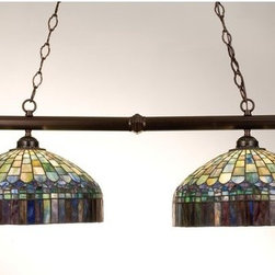 """Meyda Tiffany - Meyda Tiffany 18841 Stained Glass / Tiffany Island / Billiard Fixture C - 39"""" L Tiffany Candice 2 Light Island FixtureThrough Artful Mastery, The Louis Comfort Tiffany Studio Has Transformed A Woven Edged Fringed Fabric Into Glass. In The Candice Stained Glass ShadeIncludes 2 sections of 3 foot chain and 4 feet of wireAdjustable Height from 16.5"""" to 50""""2 100w max medium base bulbs (Not Included)"""