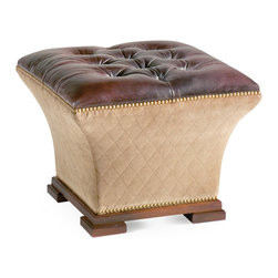 Baker Furniture - Tufted Hassock - A concave hassock in the Turkish tradition. Tufted top with sculptural concave sides. Squared feet. Nailhead trim.