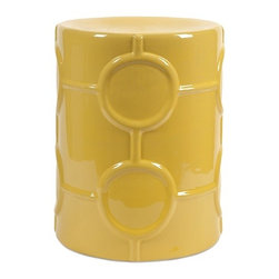 iMax - Essentials Mellow Yellow Garden Stool - This classically shaped garden stool adds a vibrant color to any area. Whether you use it as an accent table or extra seat, this piece of the mellow yellow collection from Essentials by Connie Post, will add an instant, trendy color update to any space.