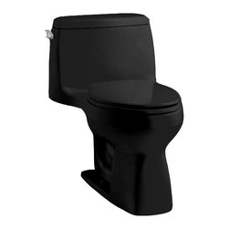 """Kohler - Kohler K-3810-7 Black Black Santa Rosa Santa Rosa Comfort Height - Santa Rosa™ Comfort Height  one-piece, compact elongated 1.28 gpf toilet Compact in size, the stylish Santa Rosa toilet delivers 3.5-gallon flushing performance in a 1.28-gallon package. This one-piece elongated toilet is available in a palette of KOHLER colors to complement any décor.  High-efficiency system offers bulk flushing performance and best-in-class cleanliness Significant water savings of as much as 16,500 gallons of water annually over a 3.5 gallon toilet Meets strict flushing performance guidelines established by the EPA s WaterSense program Qualifies as an HET (High-Efficiency Toilet). Consumer rebates are available in some municipalities Skirted trapway is easy to clean and eliminates potential debris This product can help a building earn Water Efficiency points in the LEED Green Building Rating System 27-1/8""""L x 18-3/4""""W x 28-3/16""""H Large 3-1/4"""" canister flush valve features a powerful jet action, providing rapid water delivery from tank to bowl. 12"""" rough-in. Supply line not included Includes seat and cover Order K-4650 Lustra elongated open-front toilet seat – for Accessibility compliance"""