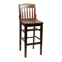 "Alston - Schoolhouse Bar Stool In Solid Beech Wood w V - Finish: Mahogany* Solid beech wood. 10780. Suitable for commercial/residential use. 30"" seat height. Perfect for the bar. 17 in. W x 16.5 in. D x 44.5 in. H"