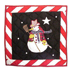 Patch Quilts - Frosty Snowman Toss Pillow 16 x 16 Inch - Decorative applique Quilted Pillow Bed and Home Ensembles and Bedding items from Patch Magic   - Machine washable  - Line or Flat dry only Patch Quilts - TPFROS