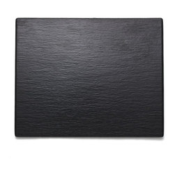 Q Squared NYC - Faux Slate Party Serving Platter - Let the Faux Slate platters create a dramatic backdrop for any assortment of sushi, snacks or sweets. No chalky residue, chip-free and dishwasher safe