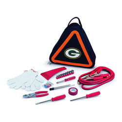 "Picnic Time - Green Bay Packers Roadside Emergency Kit in Black - The Roadside Emergency Kit by Picnic Time will give you peace of mind knowing that you're prepared when an unexpected auto emergency arises. The kit features a triangular-shaped tote with carry handle that doubles as a reflective hazard warning sign and contains essential tools for roadside emergency repair, including: 1 set of jumper cables (8.2-ft long, 15-gauge copper with laminated instructions tag affixed to the cables), 1 heavy-duty plastic ice scraper, 1 tire-pressure gauge, 1 9-piece ratchet set (socket sizes ranging from 3/16"" to 1/2"") with rigid hand driver, 1 pair of standard slip-joint pliers, 1 flathead screwdriver (7-1/4""), 1 Phillips screwdriver (7-1/4""), 1 roll of red electrical tape, blade-style automotive fuses: (1) 10 amp, (2) 15 amp, and (1) 20 amp, 1 pair of white work gloves (woven heavy-duty cotton blend), and insulated ring and spade terminals (3 of each). Makes a great gift for any car owner.; Decoration: Digital Print; Includes: 1 set of jumper cables (8.2-ft long, 15-gauge copper with laminated instructions tag affixed to the cables), 1 heavy-duty plastic ice scraper, 1 tire-pressure gauge, 1 9-piece ratchet set (socket sizes ranging from 3/16"" to 1/2"") with rigid hand driver, 1 pair of standard slip-joint pliers, 1 flathead screwdriver (7-1/4""), 1 Phillips screwdriver (7-1/4""), 1 roll of red electrical tape, blade-style automotive fuses: (1) 10 amp, (2) 15 amp, and (1) 20 amp, 1 pair of white work gloves (woven heavy-duty cotton blend), and insulated ring and spade terminals (3 of each)"