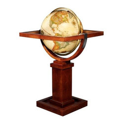 """Replogle Globes - Frank Lloyd Wright Reproduction Globe w Square Wood Stand - Diameter: 16 in.. . 23 in. L x 23 in. W x 39 in. H (26 lbs.)This globe stand is an authentic reproduction from a drawing found in the Frank Lloyd Wright Foundation archives. It is an unidentified concept for one of the Prairie Homes that Mr. Wright designed in the early 1900s. The only marking on the drawing is in his handwriting and says, """"Something like this"""". The proportions, and interpretation, of the drawing were calculated based on the scale of other drawings from this time period."""