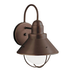 BUILDER - BUILDER Seaside Lodge/Country/Rustic/Garden Outdoor Wall Sconce X-ZO2209 - This Kichler Lighting outdoor wall sconce from the Seaside Collection pairs nautical inspiration with industrial styling and a hint of modern detailing with clean lines. The Olde Bronze finish softens the look, giving it a warm, traditional appeal.