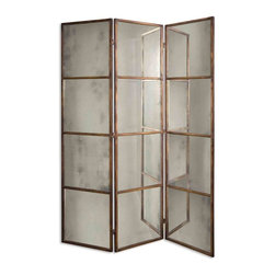 Uttermost - Uttermost 13364 P Avidan 3 Panel Screen Mirror - This mirrored screen features a metal frame finished in heavily antiqued gold. Mirrors are antiqued.