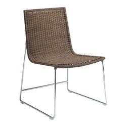 Sling Chair - The comfortable and supportive Sling Chair and Counter Stool combine rattan core in a warm Cocoa finish with a chrome-plated steel frame. With its unique crosshatch weave, there is a lightness of form and chic simplicity that owe everything to McGuire's singular techniques and attention to detail.