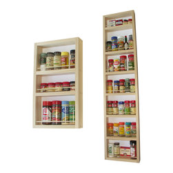 None - Solid Pine Wood 66-inch On-the-wall 2-piece Spice Rack - Cook with the confidence that comes from knowing all your favorite seasonings are nearby with this wooden wall spice rack. The two-piece rack comes with a number of shelves of different sizes so that you can choose the brand of spices that you prefer.