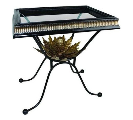 "Dr. Livingstone I Presume - Black Iron Side Table by Dr. Livingstone I Presume - Traditional styling is raised to new heights with the addition of an Italian gold finished artichoke placed beneath the framed glass table top. A black and gold fluted iron border provides the ideal balance and border for creative displaying. From formal to traditional, this side table offers versatility. (DLIP) 44"" wide x 24.75"" deep x 19.25"" high"
