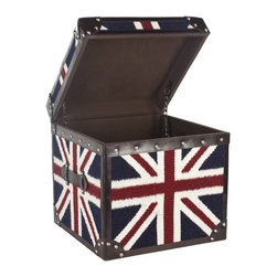 Safavieh - Safavieh Britannia Box X-A3056SCA - A striking conversation piece, this steamer trunk table pays homage to the Union Jack with its classic motif printed on sturdy hemp fabric. Accented with classic leather trim and finished with pewter rivets, the Britannia Trunk can be used as an end table or try two side by side as a cocktail table.