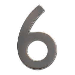 "Architectural Mailboxes - 4"" Floating House Number Dark Aged Copper ""6"" - You can count on these numbers being seen. These brass house numbers come in an aged copper finish that looks striking against lighter color walls and on older homes. Softer than black, you'll love the slight variations of verdigris on each numeral."