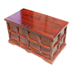 Sierra Living Concepts - Claret Wooden Storage Chest and Trunk - Stash your golden treasures and other valuables in the Claret Wooden Storage Chest and Trunk. This hand crafted decorative trunk is made of solid Indian Rosewood. The storage chest has wrought iron decoration and is finished with a rich cherry stain that brings out the beautiful wood grain patterns. The mission style trunk can be used as a coffee table, bench seat, or accent table. This elegant design easily works with both traditional and contemporary decor.