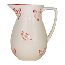 100 Essentials - Barnyard Style Creamer - Stoneware, handmade painted, country style, red and white. Dishwaser and microwave safe. 5.31 in. L x 4.33 in. W x 6.1 in. H (1.41 lbs.)Vintage-inspired Banyard Dinnerware brings a cozy country touch to the table.