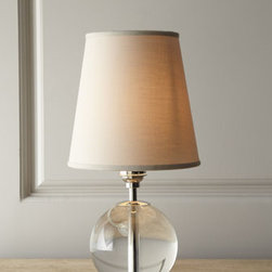 """Regina-Andrew Design - Regina-Andrew Design """"Crystal Orb"""" Mini Lamp - Small in stature, big on impact, this lamp is the perfect size to use on shelves, by a bed or favorite chair, or even in multiples along a sofa table. Handcrafted of glass and metal. Tan linen shade. Uses one 40-watt bulb. 8""""Dia. x 15.5""""T. Imported."""