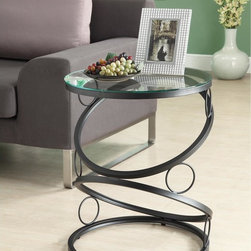 Monarch - Matte Black Metal Accent Table with Tempered Glass - This modern glass accent table features a glass and black matte metal design. The metal rings forming the base provide a modern, updated look for any living space. Measuring 24 inches high x 20 inches wide x 20 inches deep, it fits into any living area.