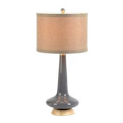 Blue Glass Table Lamp - This pretty gray base and linen shade make a great combination. In fact, I just added a pair of these to my sideboard in the dining room.