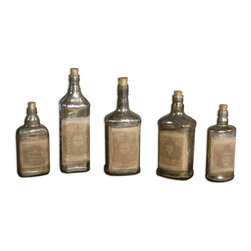 Uttermost - Uttermost 19754 Recycled Bottles Recycled Mercury Glass Bottles - Uttermost 19754 Recycled Bottles Recycled Mercury Glass Bottles