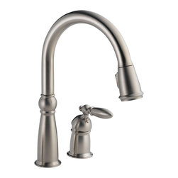 Delta Single Handle Pull-Down Kitchen Faucet - 955-SS-DST - Full collection carries old world charm through an entire home.
