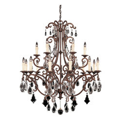 Savoy House - Florence 18-Light Chandelier - This sensational chandelier features curved hooks that gracefully dangle various crystal droplets. You get a wonderful shimmering effect as those droplets pick up the illumination from the nearby fixtures.
