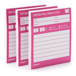 Poppin - While-You-Were-Out Notepads - Keep tabs on your hectic life — in your home office, kitchen, wherever — with old-school message pads. You've got to admit this analog equipment has a certain charm in the digital age.