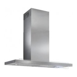 """Best - WC45IQ90SB Harmonia 35 7/16"""" Chimney Range Hood with 600 CFM Blower  Two 6-watt - Glass and stainless steel intersect joining together to form a beautiful union Harmonia is a hood unlike any other where form materials and technology merge to form an absolutely unique result"""
