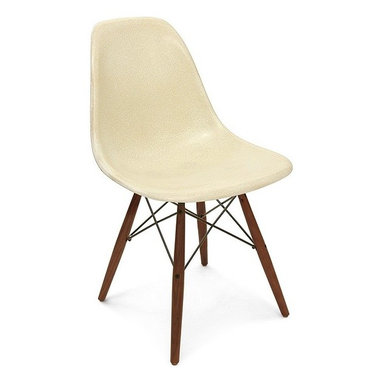 Modernica Dowel Side Shell Chair with Swivel Base - The Case Study Fiberglass Dowel Chair with swivel base is an essential for the modern home and with so many options—it is possible to create your own one-of-a-kind chair. The shell is available in a myriad of colors. Choose your wire-frame in either zinc-plated steel or black powder-coated steel, and finish your design by choosing either solid maple dowels or solid walnut dowels.