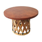Mexican Artisans - Equipale Mexican Coffee Table - Mexican artisans are experts in working with equipale (Spanish for pigskin), and this simple yet stylish table is a case in point. The circular top sits on a drum-shaped base of pine strips, creating an interesting combo of natural color and texture that's perfect for your patio or favorite rustic indoor setting.