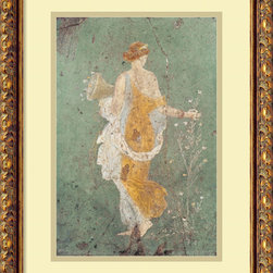 Amanti Art - Pompeian 'Primavera' Framed Art Print 15 x 19-inch - Primavera is collected from an ancient Pompeian fresco, this image provides a window into our shared heritage and history.  A spring beauty collects a harvest of spring flowers, a bouquet for a lover perhaps, or to decorate her home.