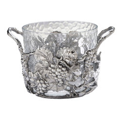 Arthur Court - Grape Ice Bucket - Now this is an ice bucket you'll want to have — no — need to have. Dappled glass is enhanced by hand-polished clusters of grapes and trailing leaves. And if you don't need an ice bucket, you can always use it to display fresh fruit!
