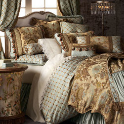 Dian Austin Couture Home - Dian Austin Couture Home King Floral Duvet Cover - Palatial bed linens combine luxe fabrics and trims with soothing hues for an elegant effect. From Dian Austin Couture Home®. Rayon, polyester, cotton, and silk. Dry clean; made in the USA of domestic and imported materials. Scalloped duvet cover i...
