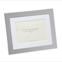 """Silver-Plated Engravable Picture Frame, 5 x 7"""" with optional Horizontal Personal - Surround favorite images in classic silver-plated frames that are crafted to last. 8"""" wide x 10"""" high (holds one 4 x 6"""" photo) 9"""" wide x 11"""" high (holds one 5 x 7"""" photo) 12"""" wide x 14"""" high (holds one 8 x 10"""" photo) 16"""" wide x 19"""" high (holds one 11 x 14"""" photo) 14"""" wide x 10.5"""" high (holds three 4 x 6"""" photos) 16.5"""" wide x 9.25"""" high (holds two 5 x 7"""" photos) Made of steel with a silver-plated finish and a white mat. Display both vertically and horizontally. Monogramming is available at an additional charge. Can be engraved with up to 20 characters per line, each line centered above and below the photo opening. Catalog / Internet Only."""