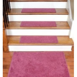 """Dean Flooring Company - Dean DIY Carpet Stair Tread Rugs (13) - Pink Plush 27"""" X 9"""" Plus 2' x 3' Mat - Dean Flooring Company DIY Carpet Stair Tread Rugs (13) - Pink Plush 27"""" X 9"""" Plus a Landing Mat : Quality, Stylish Carpet Stair Treads by Dean Flooring Company. Extend the life of your high traffic hardwood stairs. Reduce slips/increase traction (treads must be properly secured to your stairs). Cut down on track-in dirt. Great for pets and pet owners. 100% premium nylon. Set includes 13 carpet stair treads PLUS a matching 2' x 3' landing mat and one roll of double-sided carpet tape for easy, do-it-yourself installation. Each tread is serged (edges are finished) with color matching yarn (no frayed edges). Beautifully rounded corners. You may remove your treads for cleaning and re-attach them when you are done. This product is designed, manufactured, and sold exclusively by Dean Flooring Company."""