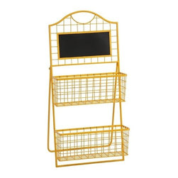 """IMAX - Richards Metal Magazine Holder - The Richards Metal Magazine Holder incorporates simple two-tiered metal baskets topped with a chalk board. The easel style stand and bright yellow finish make it fun and easy to display. Item Dimensions: (16.25""""h x 7""""w x 35.25"""")"""