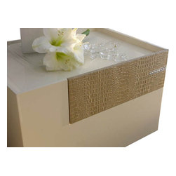 Rossetto - Diamond Left Nightstand in Ivory by Rossetto USA - Features: