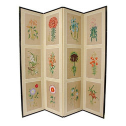 Oriental Furniture - 6 ft. Tall 12 Small Flowers Room Divider - The 12 Small Flowers motif is beautiful, with each flower delicately and colorfully rendered. Note that no two renderings are exactly the same. Subtle, beautiful hand painted wall art.