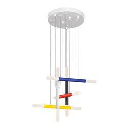 Sonneman Lighting - Sonneman Lighting 2285.71 Axes-5 LED Pendant Light In Black/Red/Yellow/Blue/Wht - Sonneman Lighting 2285.71 Axes-5 Led Pendant Light In Black/Red/Yellow/Blue/White