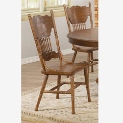 2 PC Country Oak Wood Dining Chairs Splat Back Traditional 104262 - Features