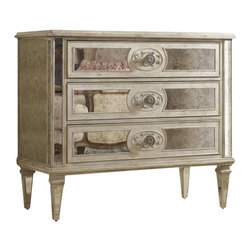 Hooker Furniture - Three-Drawer Antique Mirrored Chest - Get ready to embrace your inner Marilyn —this vintage mirrored chest is guaranteed to deliver you back to an era when silk robes and Marabou heels were ordinary nightly garb. The romantic mirror finish and graceful hardware of this glamorous dresser will beautifully accentuate any room in the house.