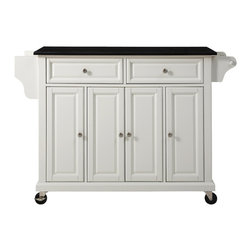 Crosley - Kitchen Island Cart, White With Black Granite Top - Constructed of Solid Hardwood and wood veneers, this mobile kitchen cart is designed for longevity. The Beautiful raised panel doors and drawer fronts provide the ultimate in style to dress up your kitchen. Two deep drawers are great for anything from utensils to storage containers. Behind the four doors, you will find adjustable shelves and an abundance of storage space for things that you prefer to be out of sight. The heavy duty casters provide the ultimate in mobility. When the cabinet is where you want it, simply engage the locking casters to prevent movement. Style, function, and quality make this mobile kitchen cart a wise addition to your home.