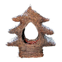 """Master Garden Products - Rattan Christmas Tree Planter, 12""""L x 4""""W x 12""""H - Dress up your home for the holidays with these rattan Christmas tree planters. They can be hung on your Christmas tree or placed on your fireplace mantel as a holiday decor. Can be used as a planter or as decoration."""